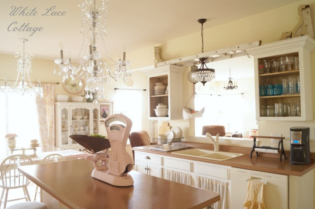 Crystal Chandeliers Shabby Romantic Kitchen  White Lace Cottage