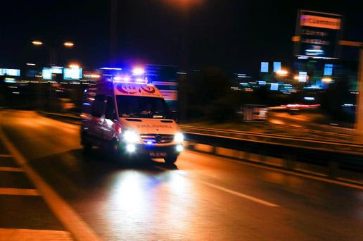 An ambulance arrives at the Ataturk airpor in Istanbul, Turkey. Reuters/Osman Orsal