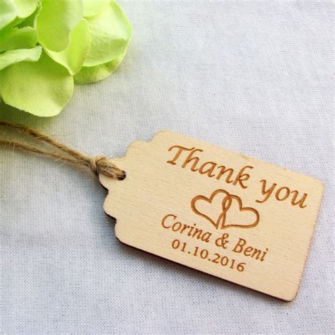 50pcs Personalized Engraved Thank You Wedding Tags Wooden