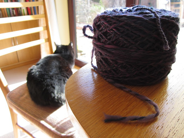 Bare Naked Knitspot spinning purple yarn Feb 2014 (1)