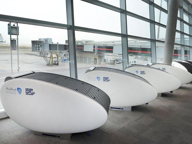 GoSleep, cápsulas para passageiros dormirem enquanto esperam o voo no Aeroporto Internacional de Abu Dhabi (Foto: Abu Dhabi International Airport/Divulgação)