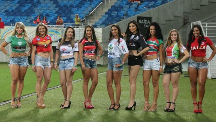 Candidatas à musa do Futebol Potiguar foram apresentadas na Arena das Dunas (Foto: Wendell Jefferson)
