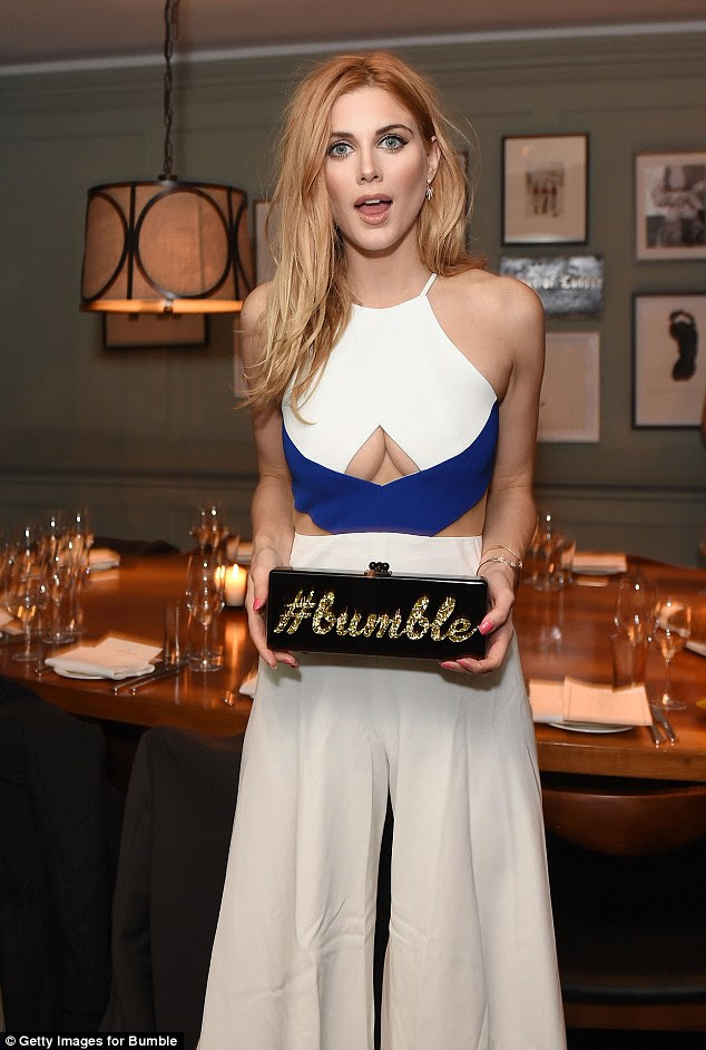 Up front! The blonde showed off a very generous amount of cleavage in a racy cut-out gown as she made a stylish entrance at the bash held by Bumble