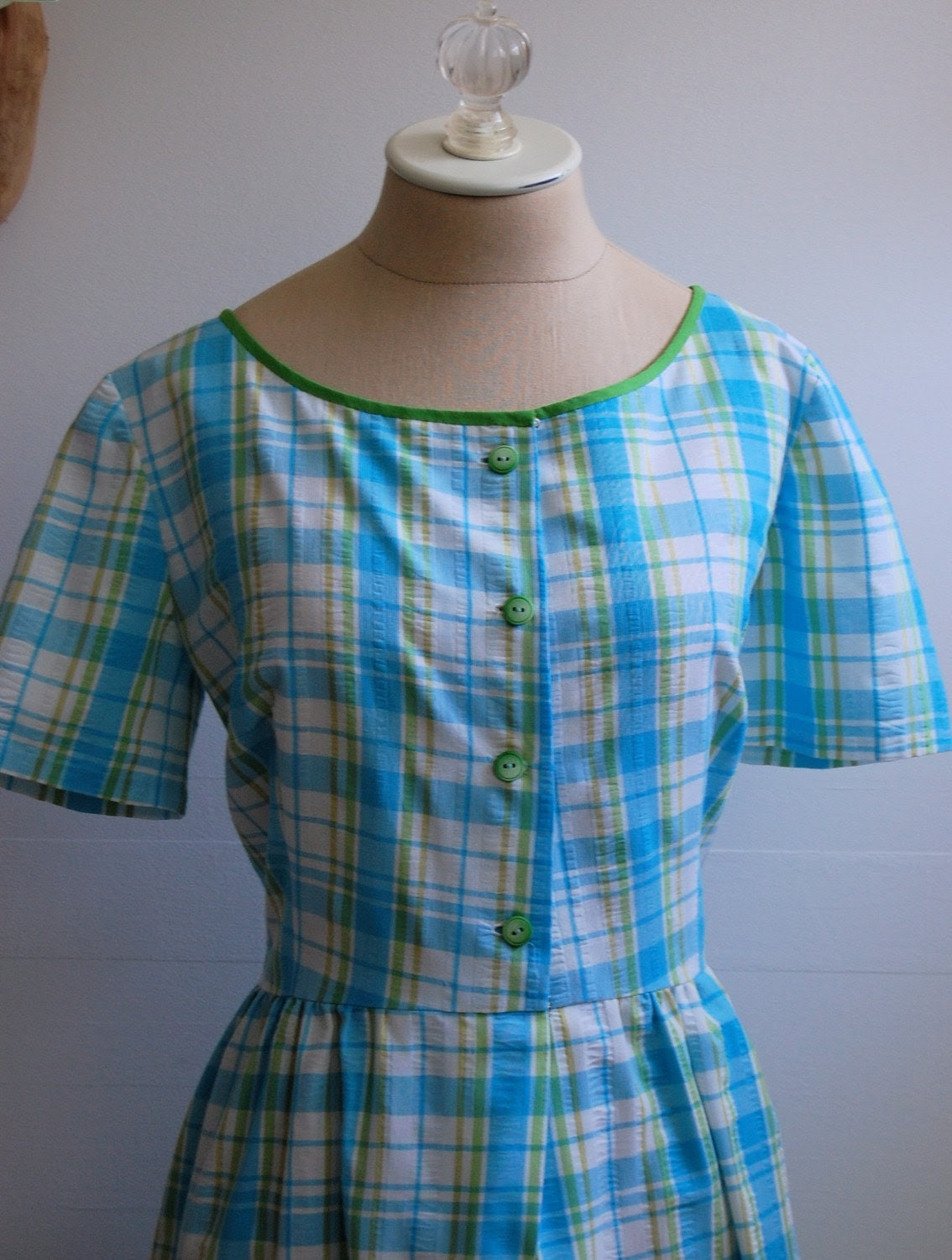 The Scooter- Vintage 1960s Plaid One Piece Romper L