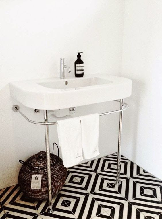 Picture Of patterned black and white bathroom tiles