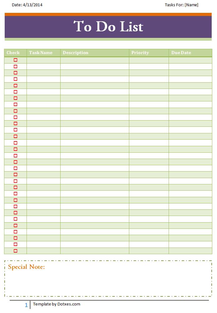 To do list template (Basic) - Dotxes