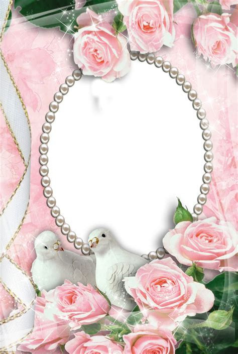 Pink Transparent Frame with Doves and Roses   Wedding