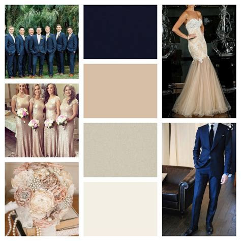Navy blue, nude, champagne, ivory and blush   Our wedding