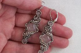 Theodora Earrings In Rose Quartz