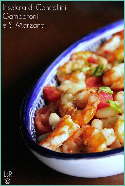 insalata di cannellini, gamberoni e s.marzano