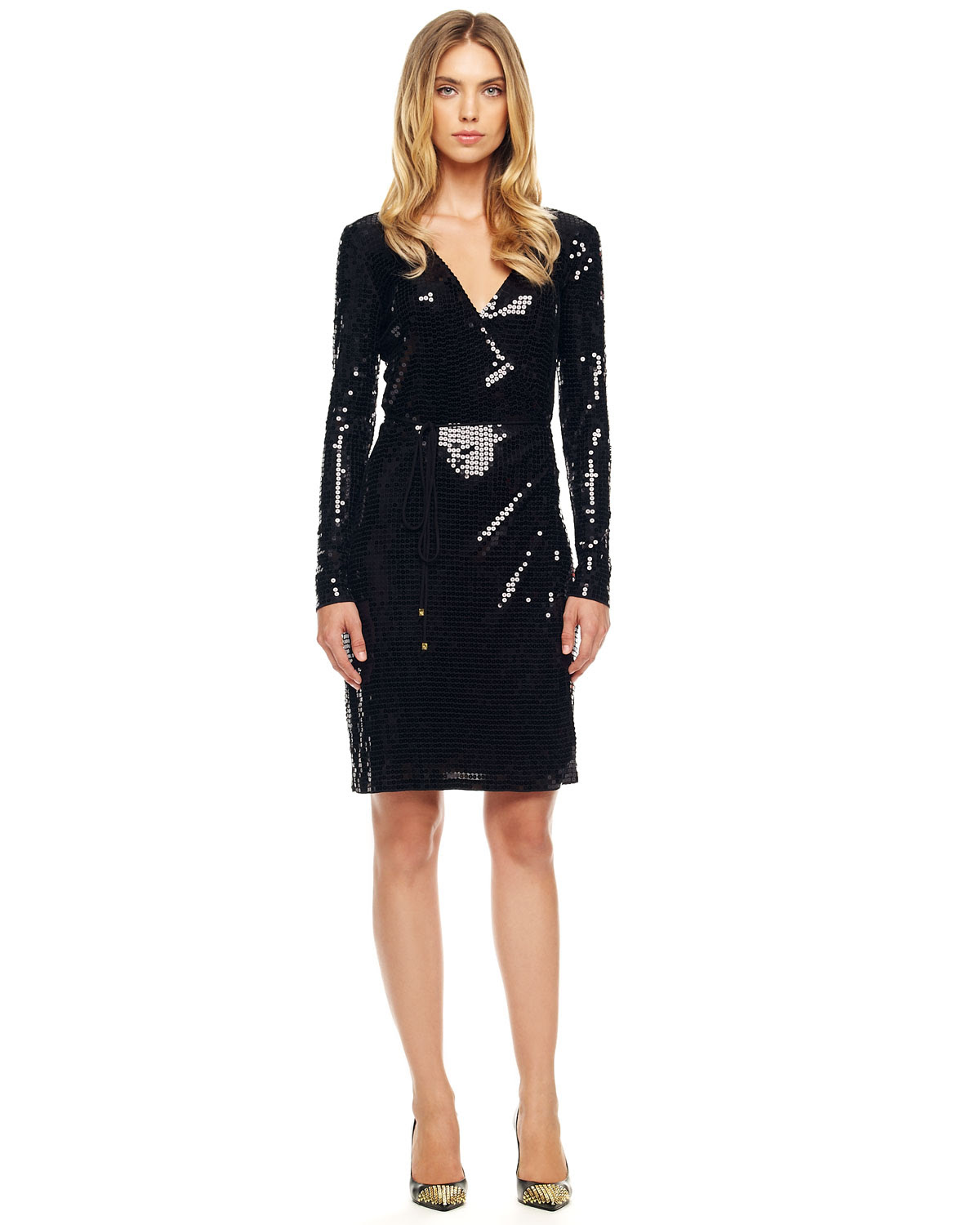 michael kors black sequined wrap dress product 1 5060184 019236569