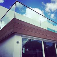 Exterior Aluminum U Channel Tempered Glass Balcony Stainless Steel
