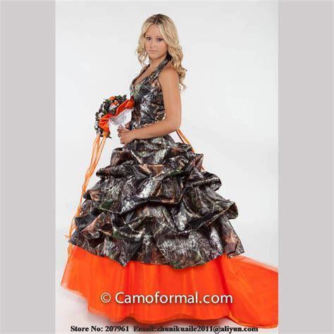 Orange Camo Wedding Dresses 2016 Halter Camouflage Bridal