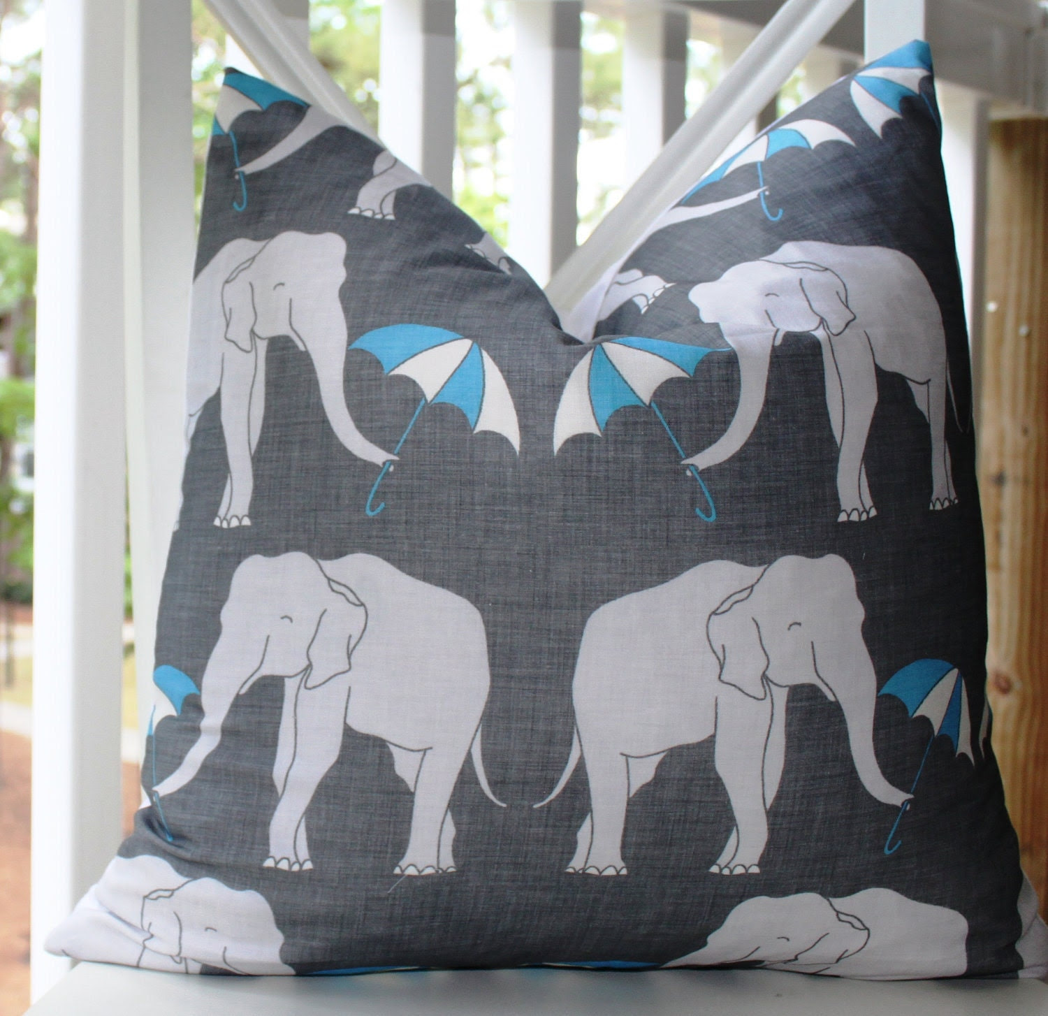 Decorative Pillow Cover - 18 x 18 Yellow Grey and White Modern Pillow Cover- Elephant Throw Pillow