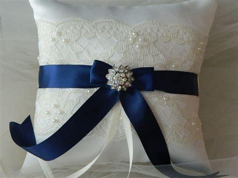 Wedding Ring Bearer Pillow,Bridal Ring Bearers, Navy Blue