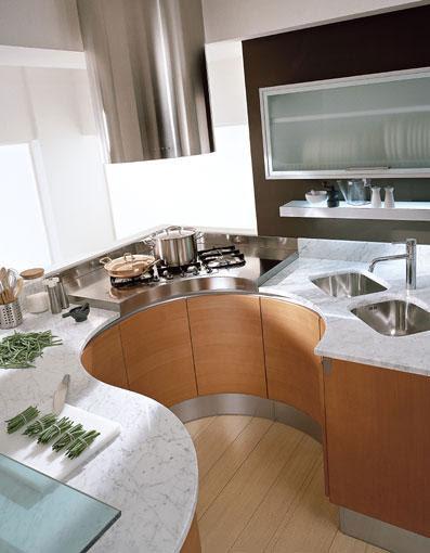 round countertops in round kitchen designs by Pedini ...