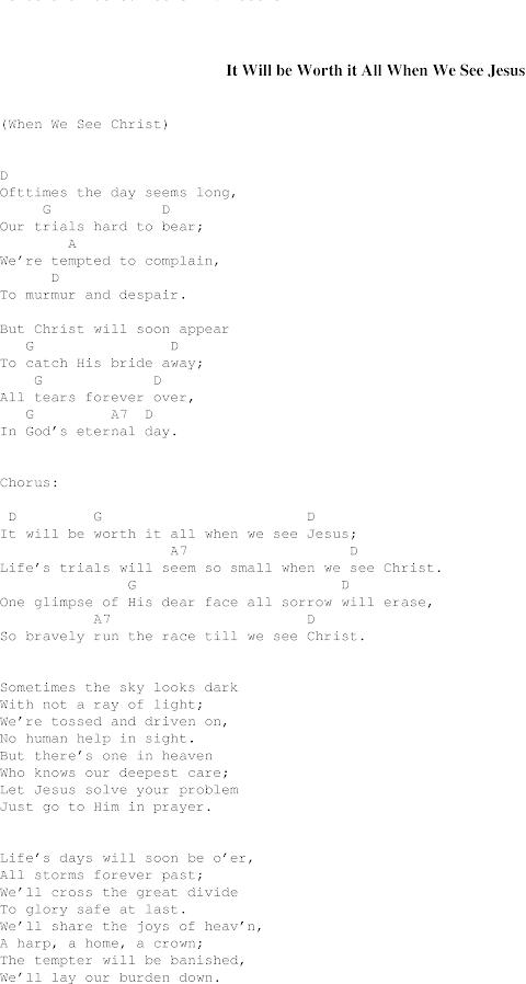 It Will Be Worth It All Lyrics