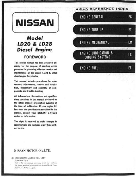 Nissan LD20 & LD28 Manual: Page 0-001