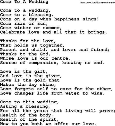 Wedding Hymns and songs: Come To A Wedding.txt   lyrics