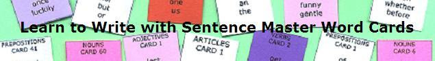 Learn to write English sentences with Sentence Master Word Cards
