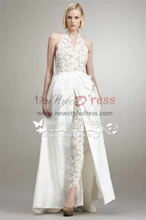 fashion sexy wedding pants dresses lace jumpsuit with