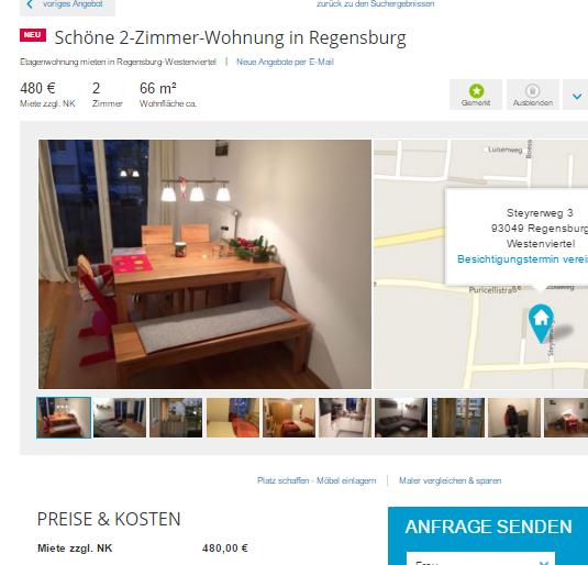 sch ne 2 zimmer wohnung in regensburg steyrerweg 3 93049 regensburg. Black Bedroom Furniture Sets. Home Design Ideas