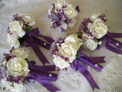 Silk Flower Bouquet of Silk Lilacs and Realtouch Rose