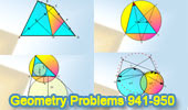Online Geometry Problems 941-950: Triangle, Circle, Area, Circumcircle, Intersecting Circles