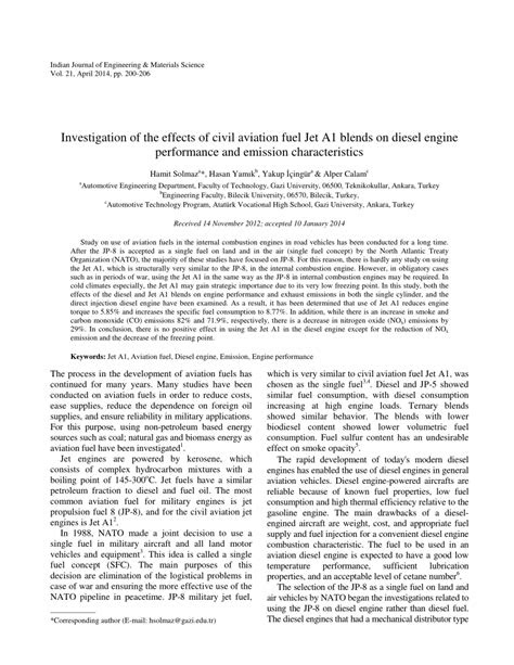 (PDF) Investigation of the effects of civil aviation fuel