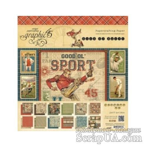 Набор скрапбумаги Graphic 45 - Good Ol Sport - Pad, 30х30 см, двусторонняя, 24 листа - ScrapUA.com