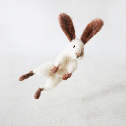 Jumping bunny rabbit Sir Hopsalot, from natural sheep wool