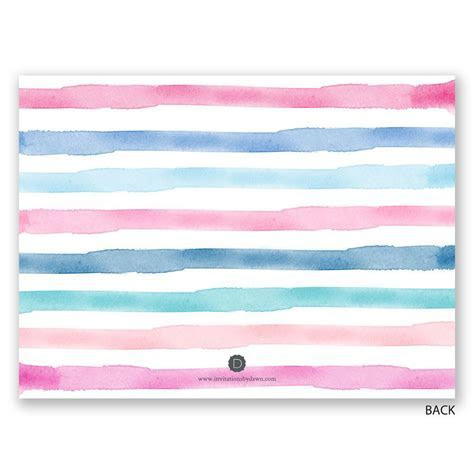 Watercolor Stripes Petite Gender Reveal Invitation