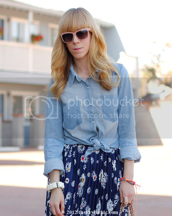 Forever 21 chambray shirt, Jason Wu for Target floral skirt, Los Angeles fashion blog