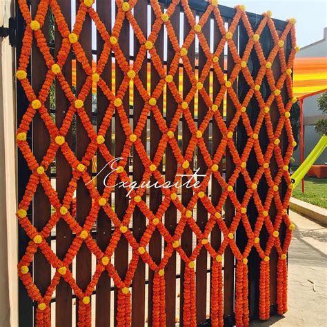 Marigold decoration for gate Indian wedding decor   Mehndi