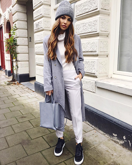 Le Fashion Blog Gray Beanie White Turtleneck Gray Longline Coat White Trousers Black Sneakers Via @ Negin_Mirsalehi