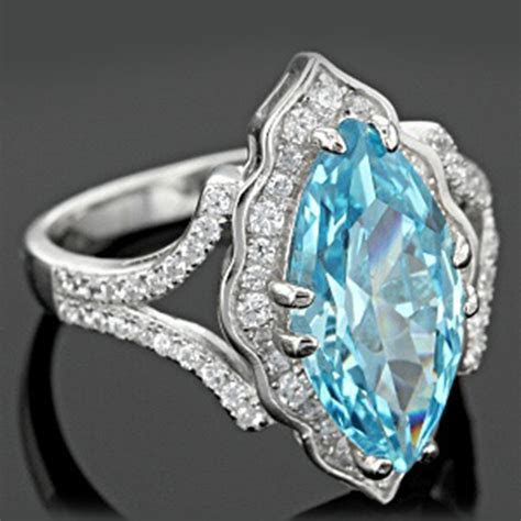 Large Women Jewelry 925 Silver Aquamarine Gemstone Wedding