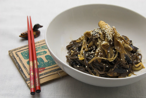Soba noodles with enoki and oyster mushrooms