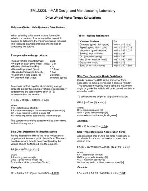 Drive wheel motor torque calculations
