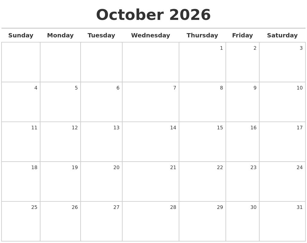october 2026 calendar maker full weekday