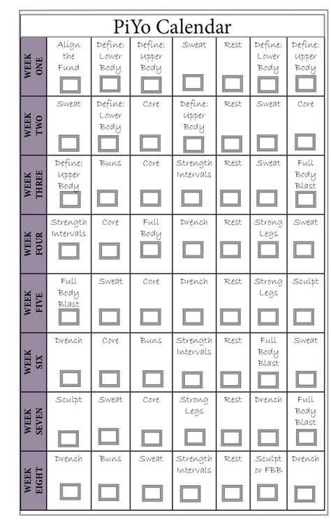 piyo workout calendar runholy