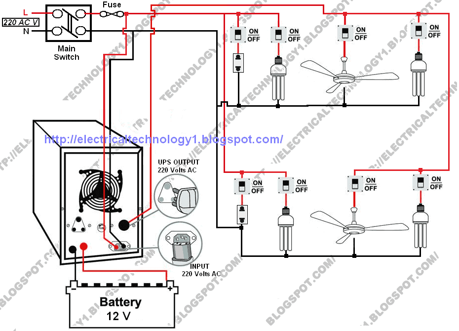 Wiring diagram of home ups home wiring and electrical diagram wiring diagram of home ups automatic ups system wiring diagram in case of some items cheapraybanclubmaster Gallery