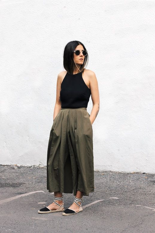 Le Fashion Blog Blogger Style Round Sunglasses Black Halter Top Army Green Culottes Lace Up Espadrilles Via Blog And The City