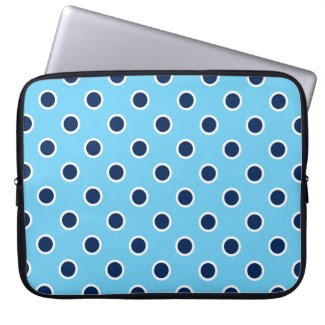 Playful Navy Polka Dots, Light Blue Laptop Sleeve