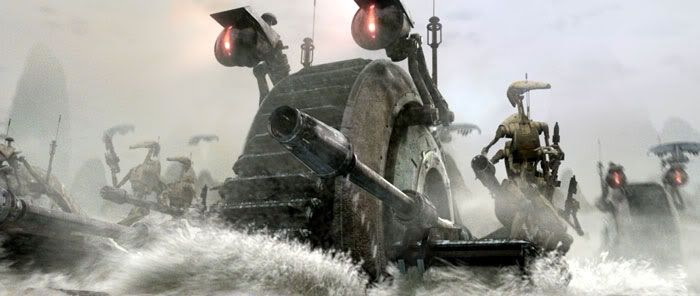 Battledroids ride on Droid Tanks as they approach the battlefield on Kashyyyk.