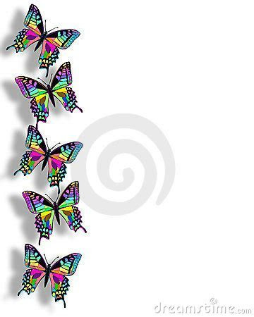 Butterfly Border 3D Rainbow Colors Stock Photography