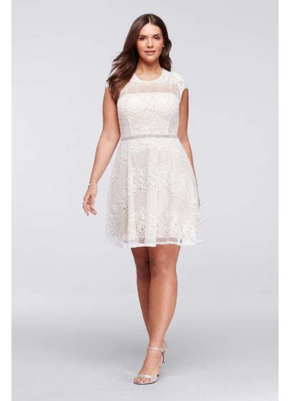 Plus Size Cap Sleeve Lace Dress with Beaded Waist   David