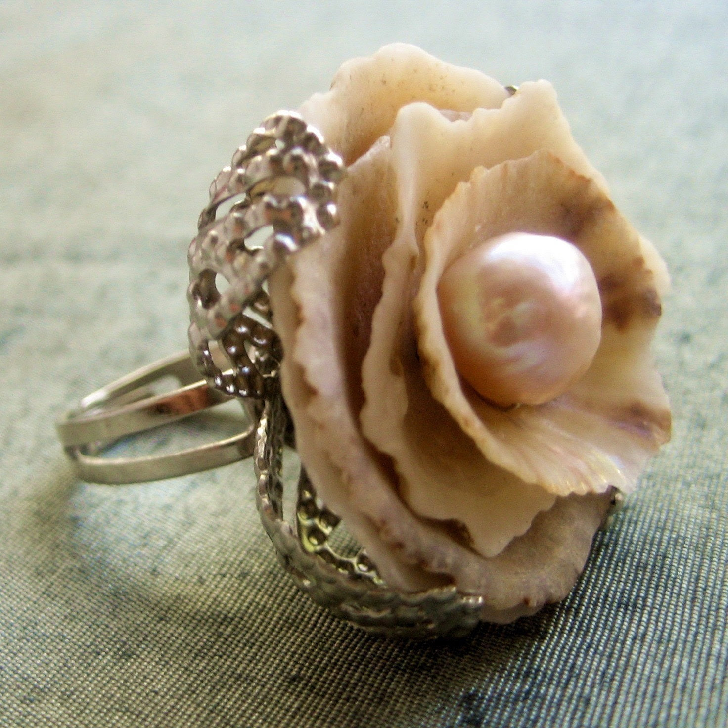 Sea Treasure Collection-Shell and Pearl Rose Ring