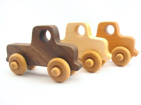 organic toy car, a natural wooden toy - OLD-SCHOOL TRUCK - wood baby toys, eco-friendly for toddler, kids, preschoolers
