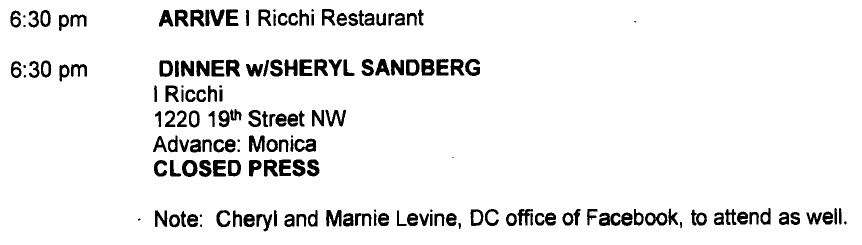 Mar. 26, 2012 Hillary Clinton dinner scheduled with Sheryl Sandberg, Cheryl Mills and Marne Levine, Case No. F-2014-20439, Doc. No. C05789834.