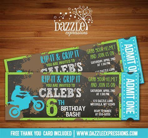 Printable Chalkboard Dirt Bike Ticket Birthday Invitation